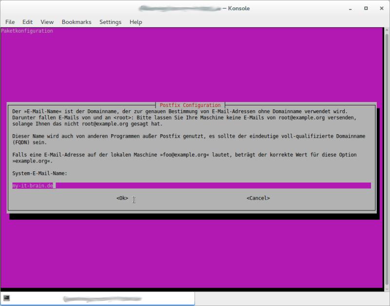 Postfix Configuration: System-E-Mail-Name