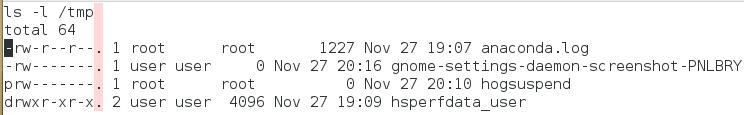 Der Punkt zeigt einen vorhandenen SELinux-Kontext an